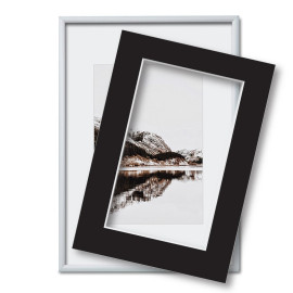 Fotolijst met passe partout 60x80cm zilver